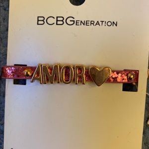 "Pink ""Amor"" Glitter Adjustable Bracelet"